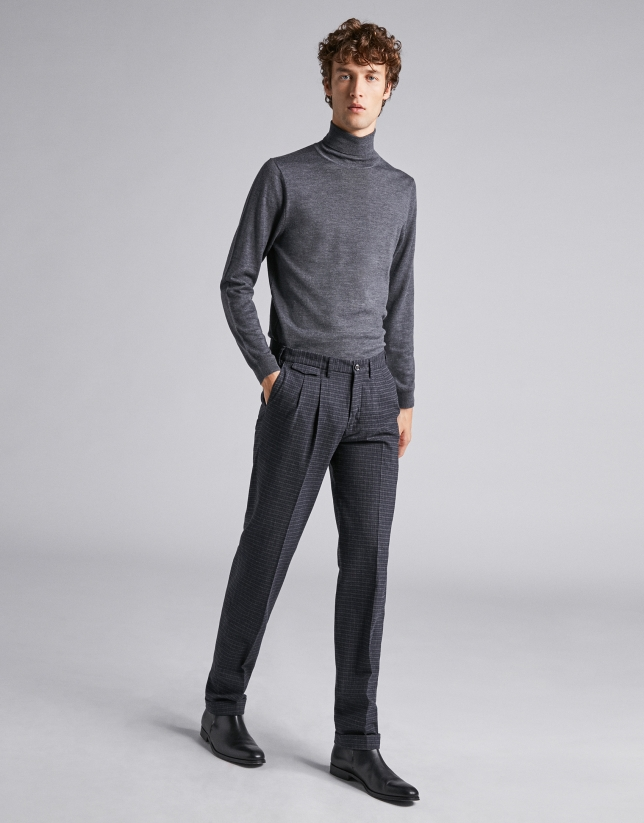 Navy blue checked pants with darts