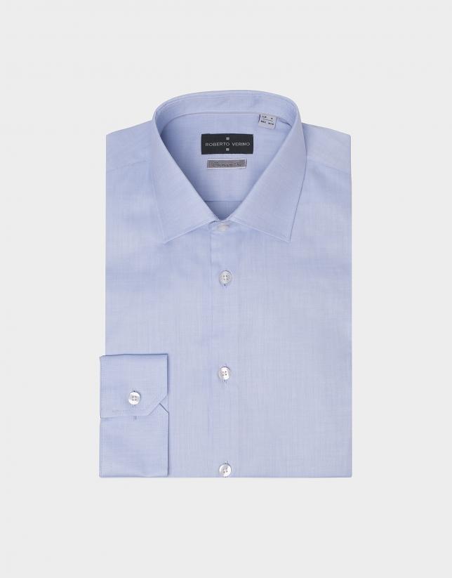 Chemise de costume à chevron bleu clair