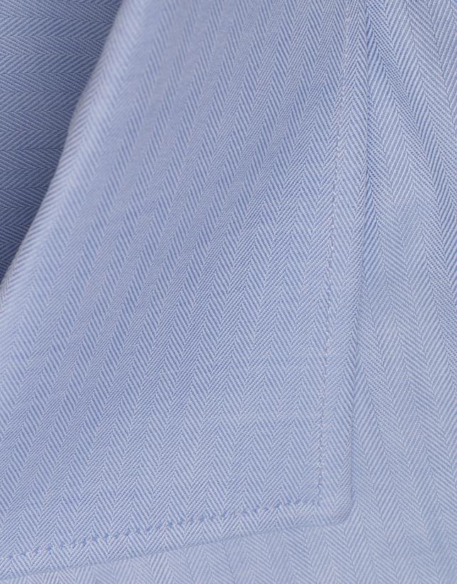 Camisa  vestir espiga azul claro