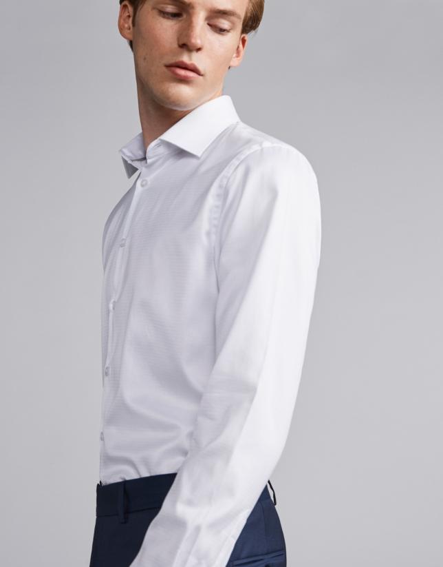 Camisa vestir algodón estructurado blanco
