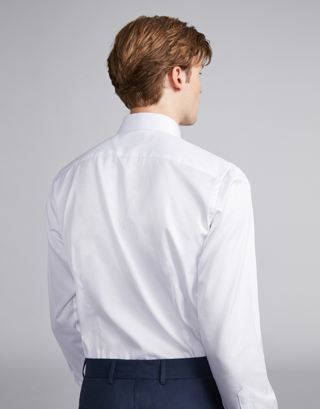 White structured cotton dress shirt