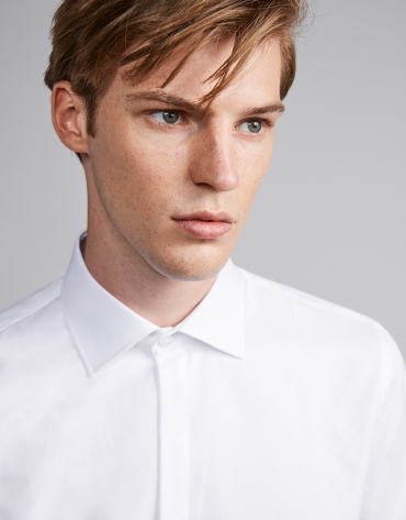Chemise de costume en coton blanc structuré diamant