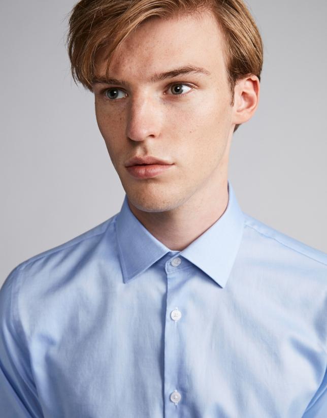 Chemise de costume slim fit (coupe ajustée) Oxford en bleu