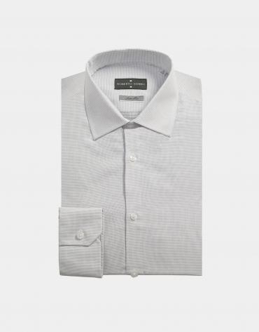 Camisa vestir blanco puntos plata