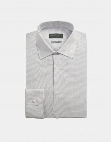 White knit dress shirt with silver dots