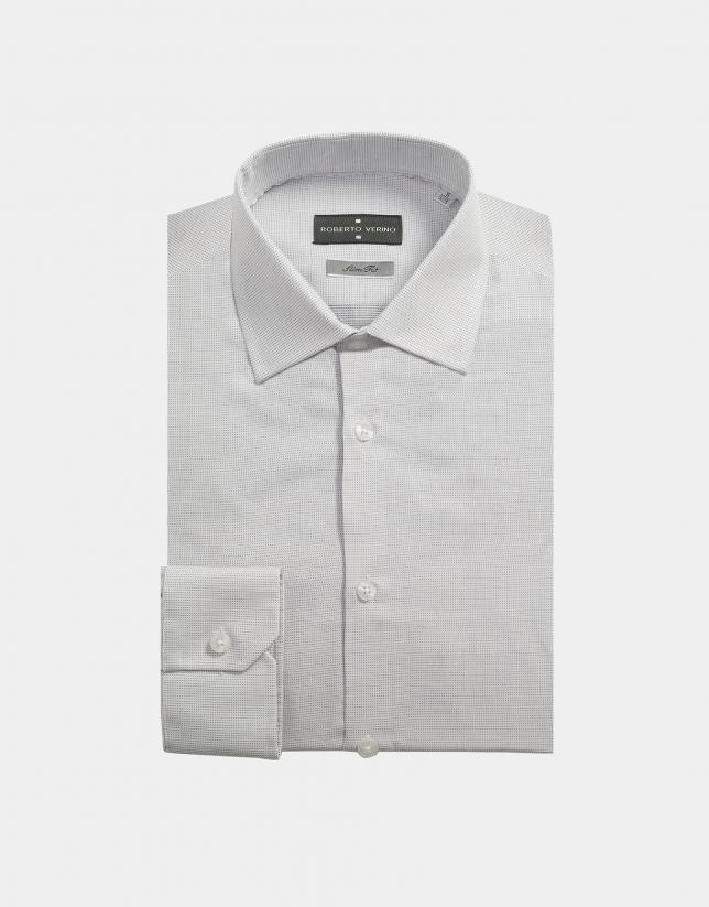 Chemise de costume blanc à points couleur argent