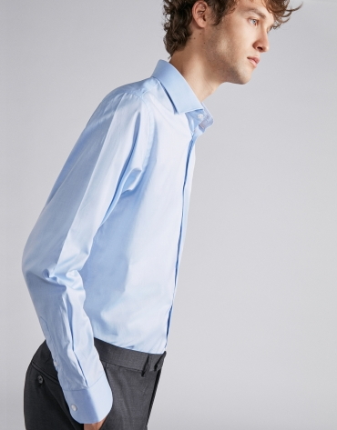 Sky blue structured cotton dress shirt
