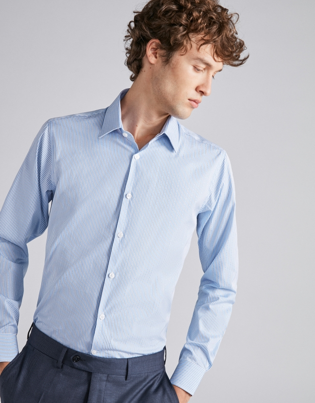 Camisa vestir rayas azul cielo