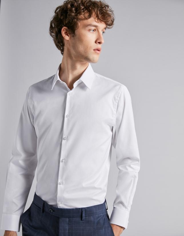 Chemise de costume faux uni blanc