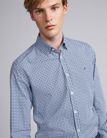 Camisa sport estampado geométrico floral azul/marrón