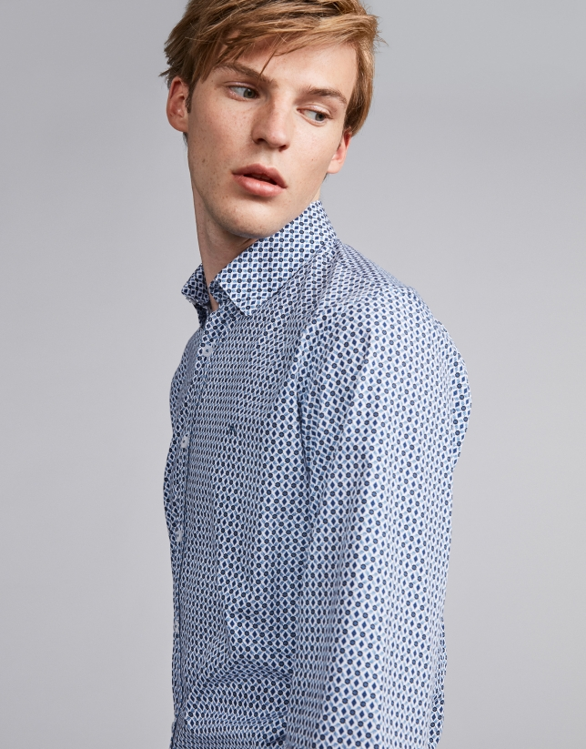 Brown/blue floral geometric print sport shirt