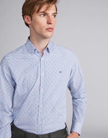 Chemise décontractée à rayures en bleu ciel