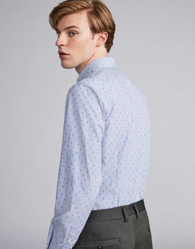 Camisa sport rayas azul cielo