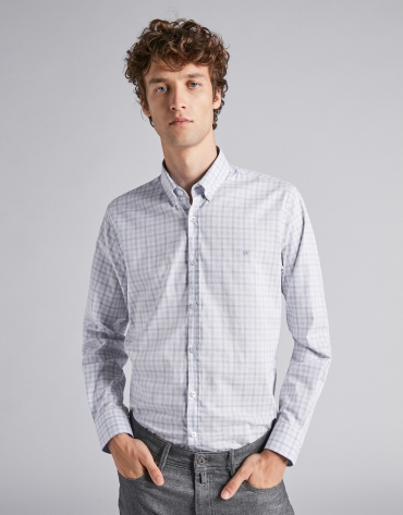 Light blue/gray melange checked sport shirt