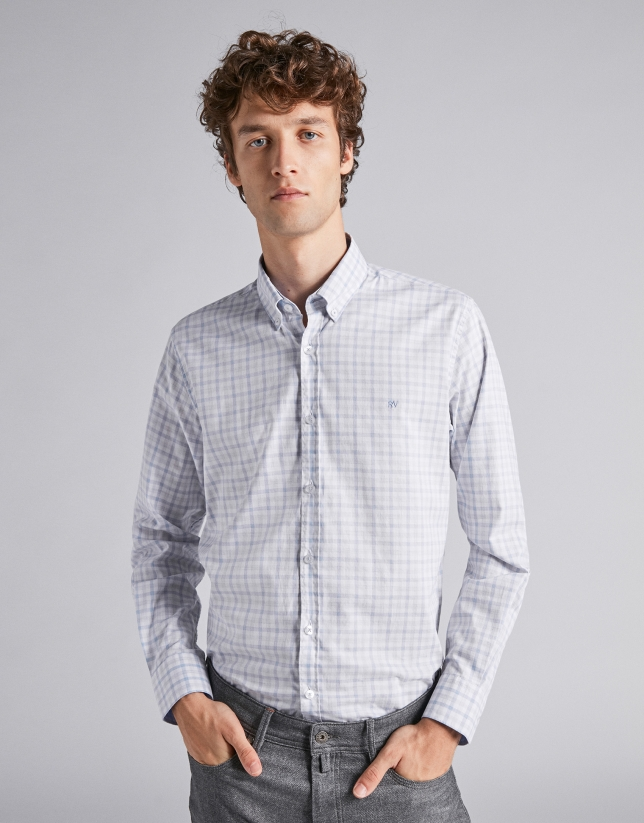 Camisa sport cuadros celeste/gris melange