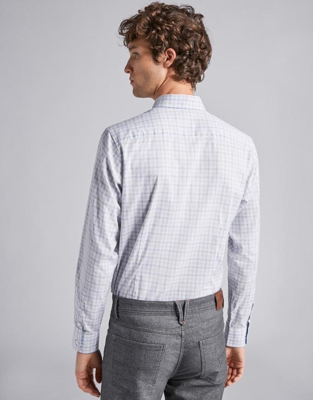 Chemise décontractée à carreaux en bleu ciel/gris mélangé
