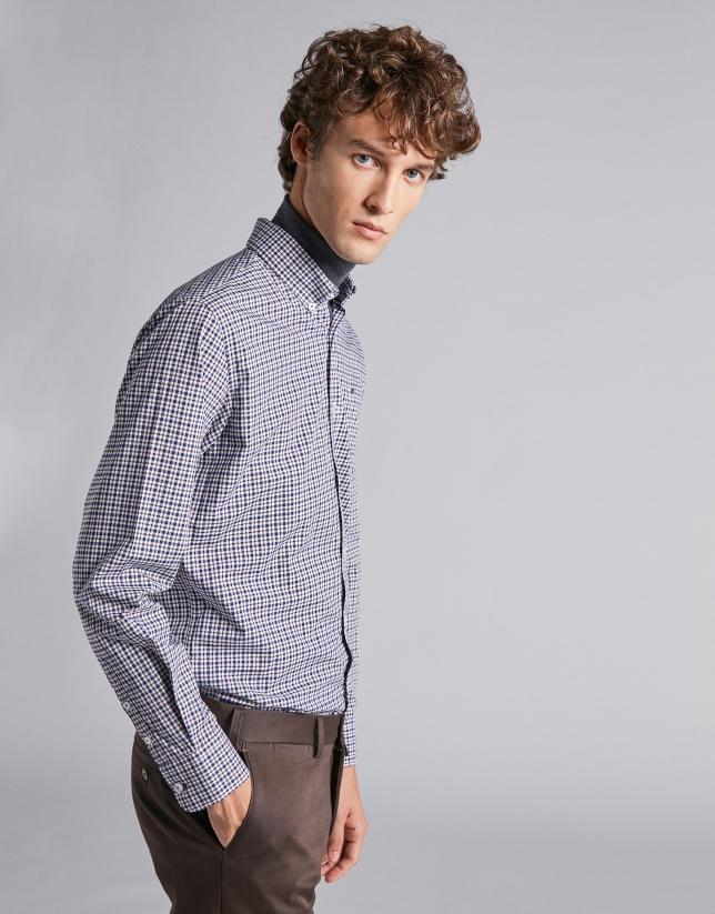 Brown/navy blue checked sport shirt
