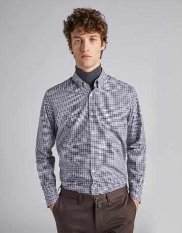 Chemise décontractée à carreaux profilés en marron/bleu marine