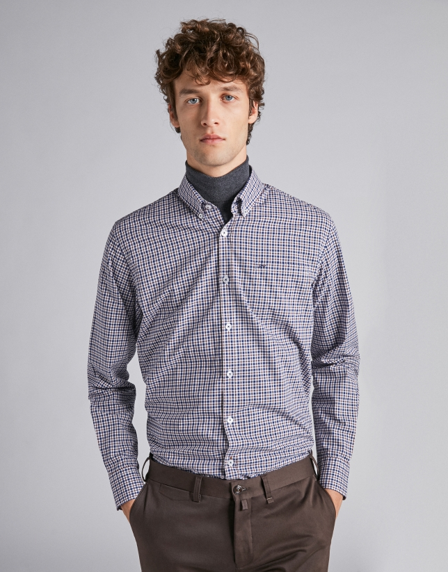 Brown/navy blue checked sport shirt