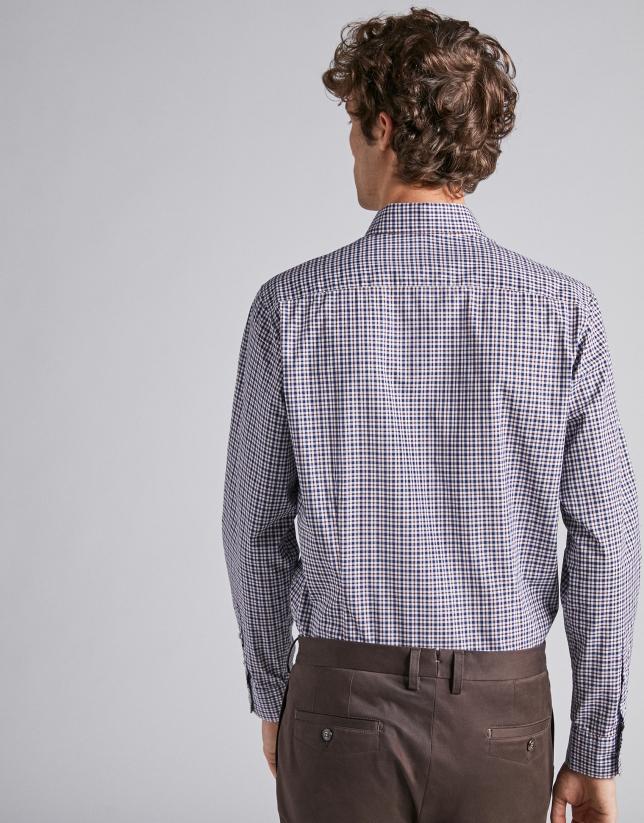 Camisa sport cuadros con perfiles marrón/marino