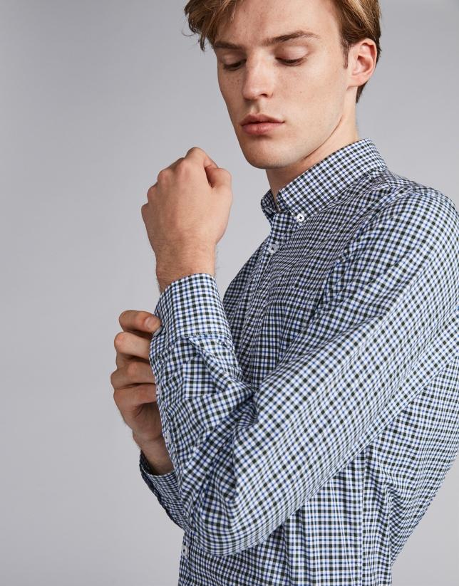 Camisa sport cuadros pequeños con perfiles verde/azulón