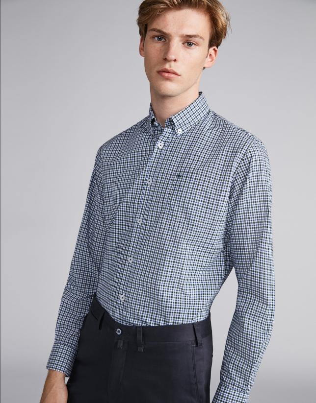 Chemise décontractée à carreaux profilés en bleu/vert roi