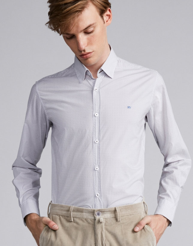 Light blue/brown geometric print sport shirt