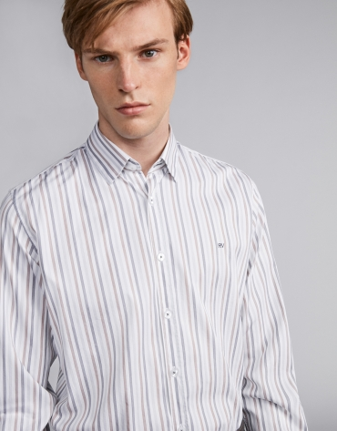 Gray/mink-colored striped sport shirt