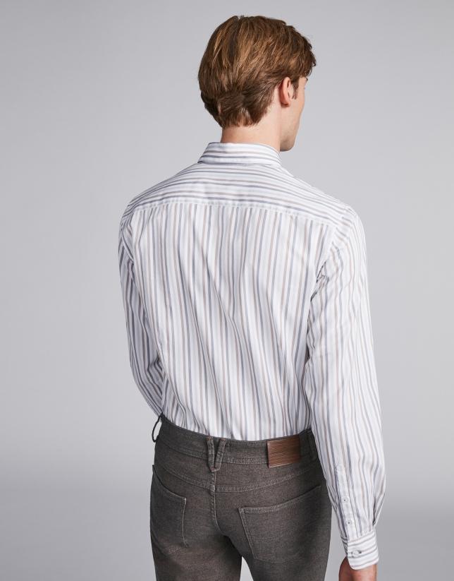 Camisa sport rayas gris/visón