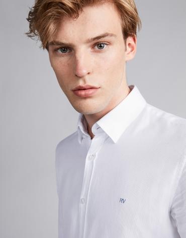 Chemise décontractée faux uni blanc