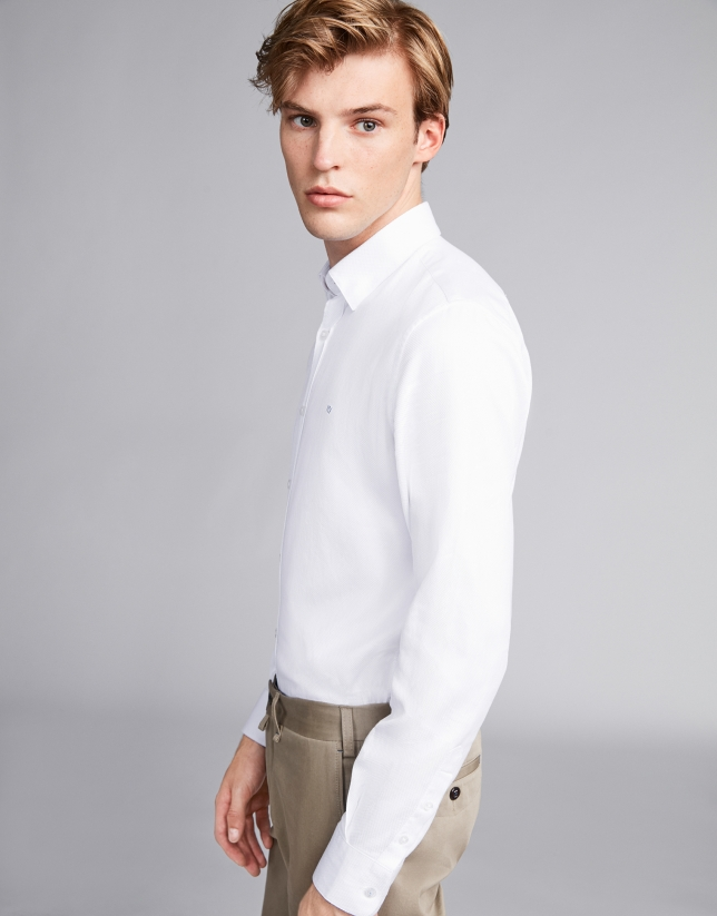Camisa sport falso liso blanco