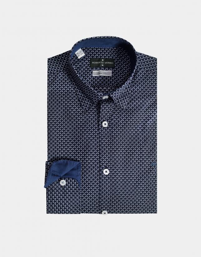 Navy blue geometric print sport shirt