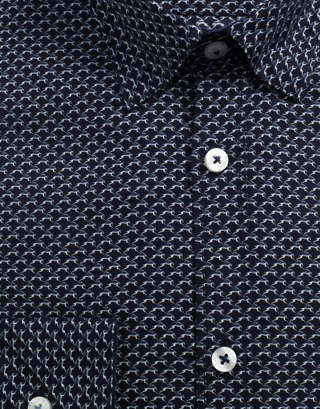 Camisa sport marino estampado geométrico