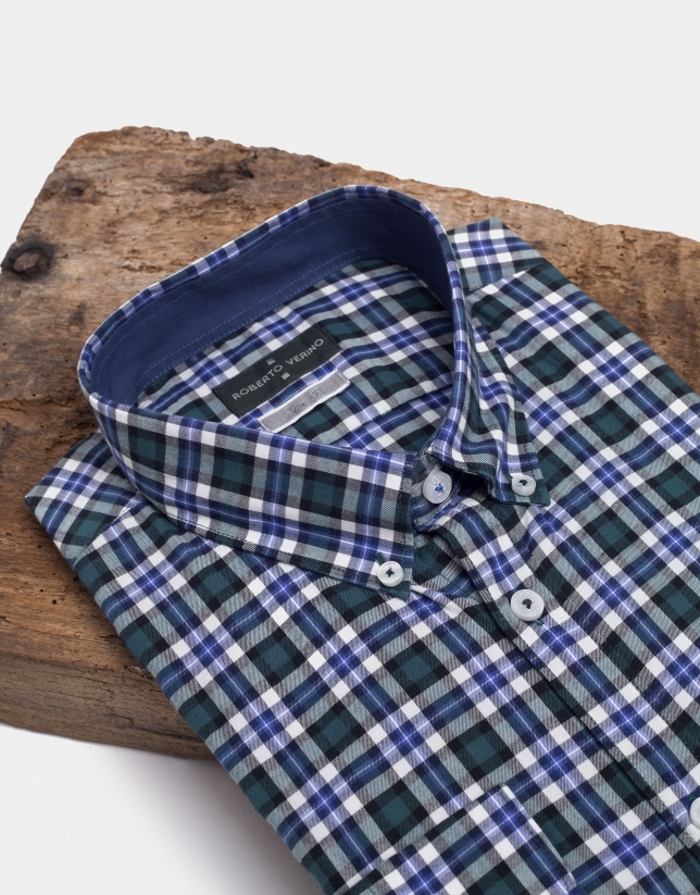 Blue and green checked sport shirt