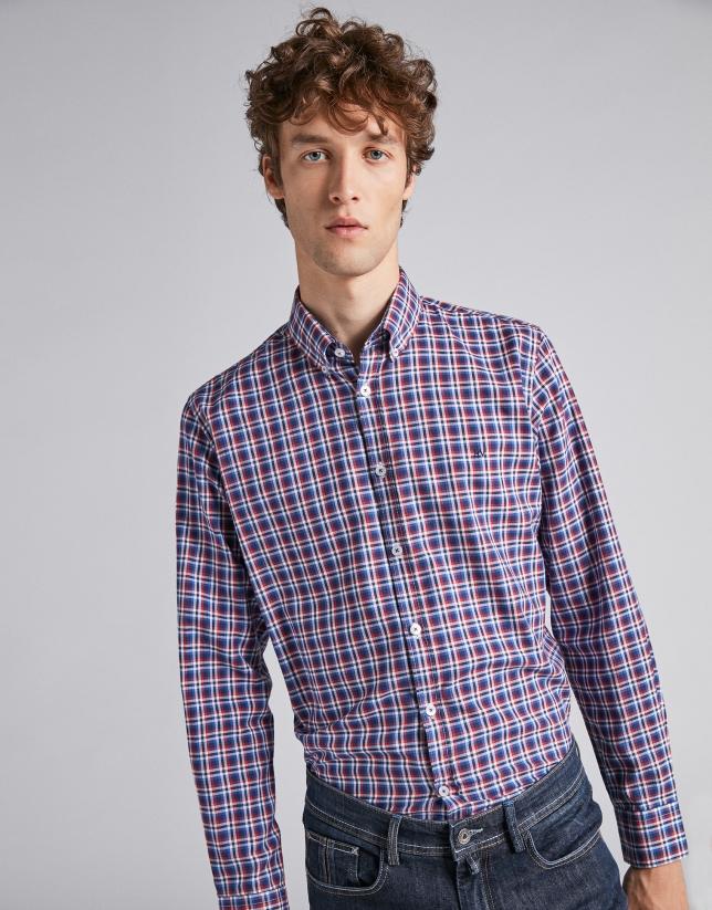 Chemise décontractée à carreaux profilés en bleu/rouge foncé