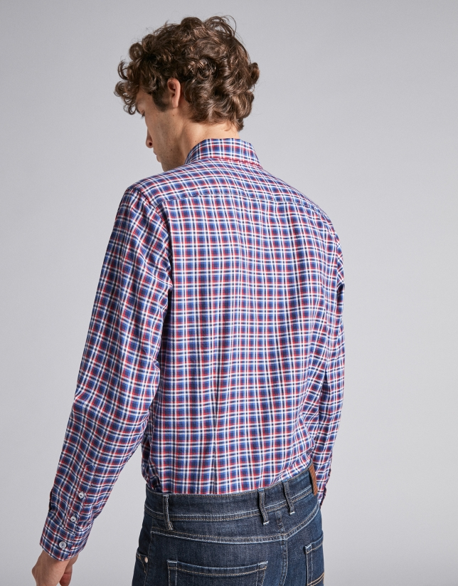 Blue/dark red checked sport shirt