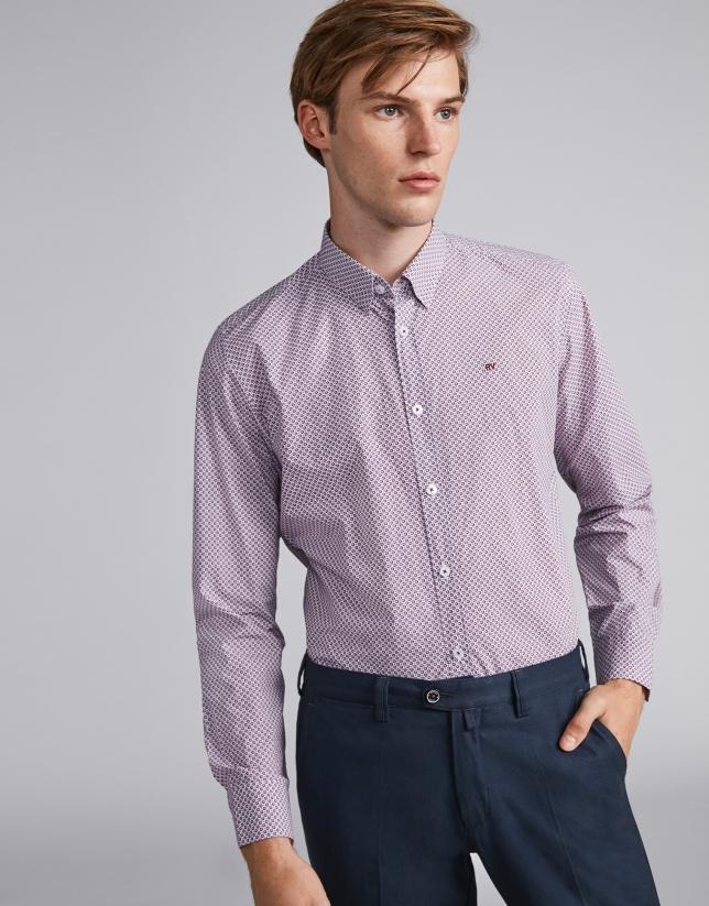 Burgundy floral print sport shirt