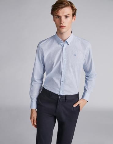 Camisa sport estampado geométrico azul