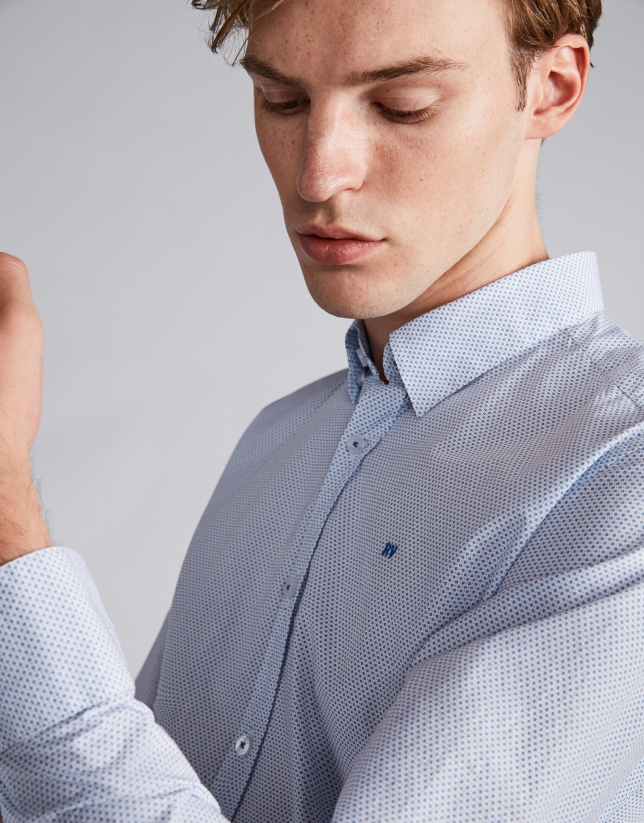 Chemise décontractée imprimé géométrique bleu
