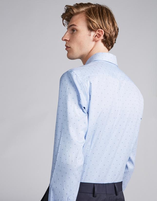 Chemise décontractée faux uni bicolore en bleu ciel/blanc