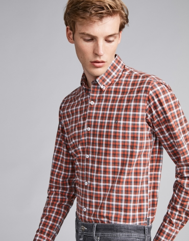 Burnt orange and gray checked sport shirt