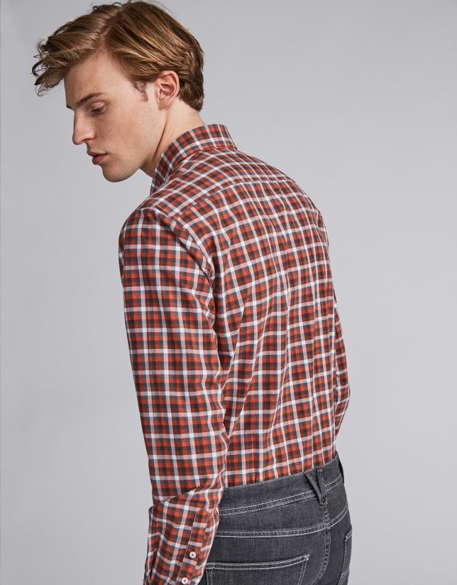 Chemise décontractée à carreaux profilés en gris/orange brûlé