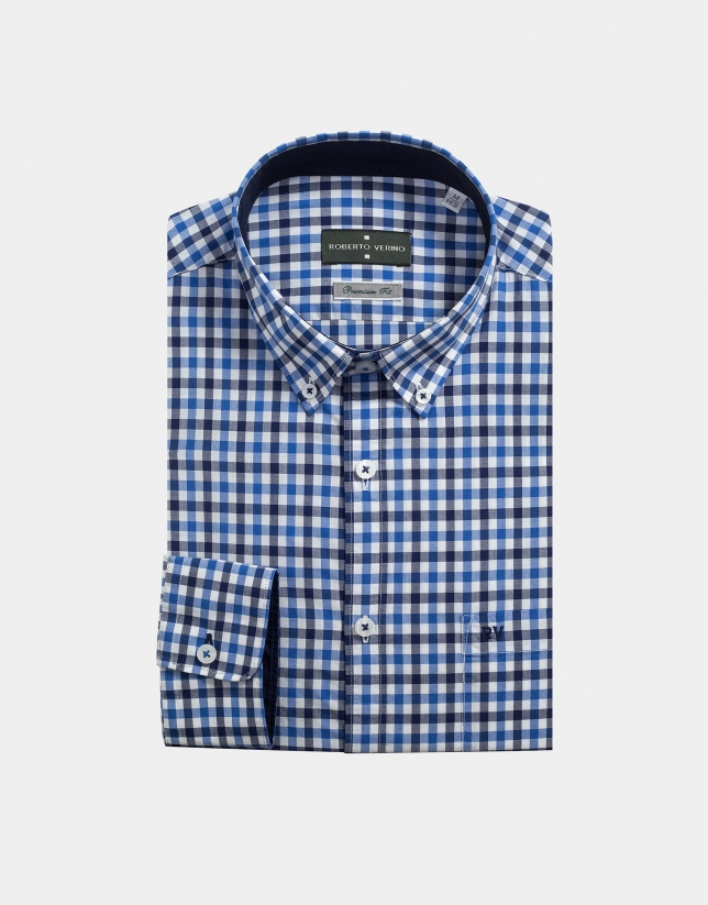 Chemise décontractée à carreaux bleus
