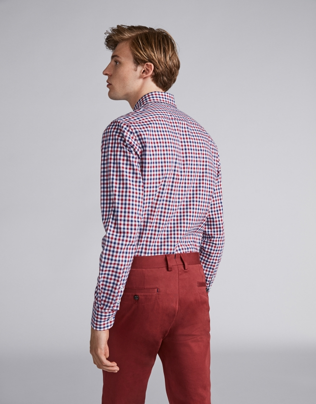 Blue/burgundy checked sport shirt