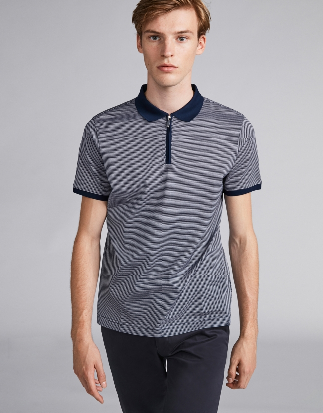 Navy blue/beige two-color polo with short sleeves