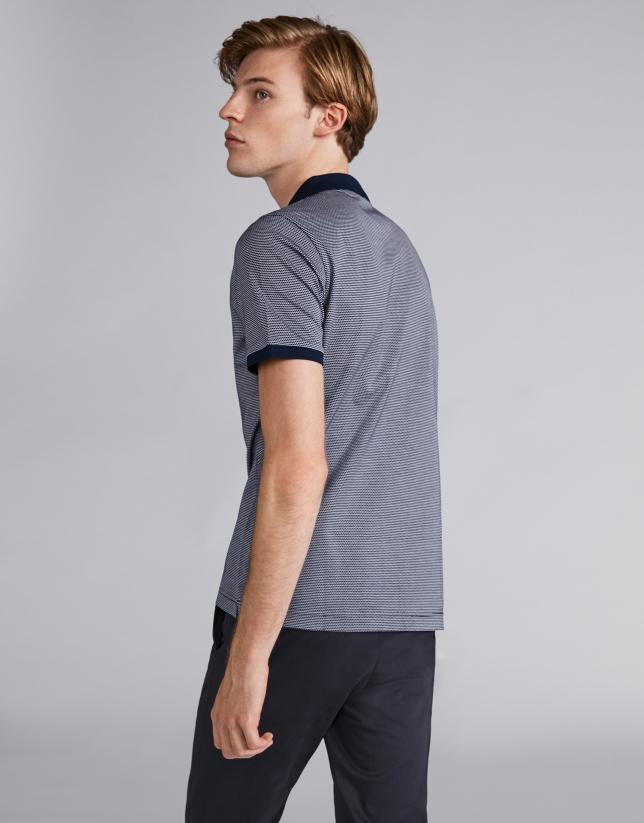 Polo manga corta bicolor marino/crudo