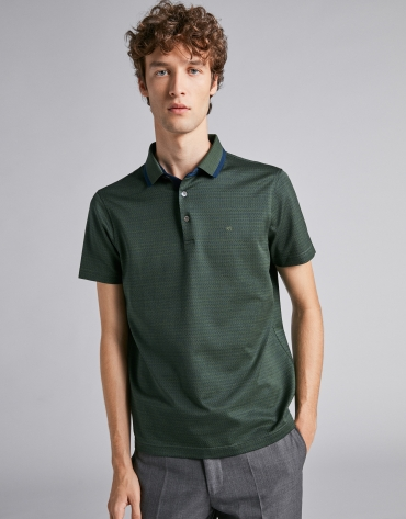 Green/dark blue jacquard polo with pinstripe collar