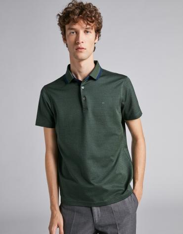 Polo jacquard en tonos verde/azul oscuro y cuello mil rayas