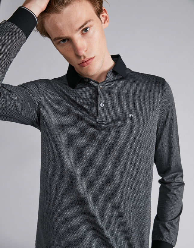 Black/silver gray two-color polo