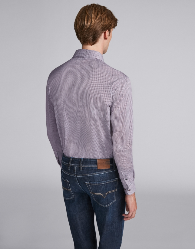 Navy blue/burgundy geometric print polo with collar